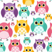 Owl Seamless Pattern Background Vector Illustration — Stock Vector