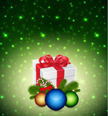Gift with christmas balls — Stock Vector