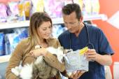 Veterinarian giving advice on pet food — Stock Photo