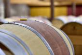Barrel in wine cellar — Stock Photo