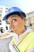 Woman architect on building site — Stock Photo