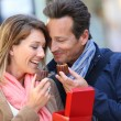Couple in Bordeaux eating cakes — Stock Photo #53289417