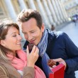 Couple in Bordeaux eating cakes — Stock Photo #53289451