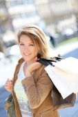 Woman on shopping day — Stock Photo