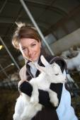 Farmer woman carrying baby goat — Stock Photo