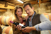 Couple of winegrowers in wine cellar — Stock Photo