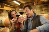 Oenologists tasting red wine — Stock Photo