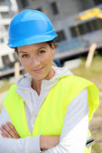 Woman engineer with security helmet — Stock Photo