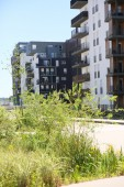 Architektura v zelené čtvrti — Stock fotografie