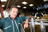 Smiling farmer standing in barn — Stock Photo