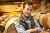 Winemaker standing in wine cellar — Stock Photo