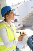 Woman engineer checking construction — Stock Photo