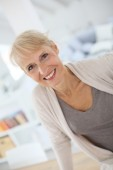 Smiling blond senior woman — Stock Photo