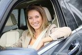 žena na okno auta — Stock fotografie