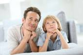 Daddy and son having a dream — Stock Photo