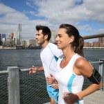 Joggers running on Brooklyn Heights Promenade — Stock Photo #58089095