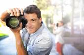 Young photographers on training day — Stock Photo
