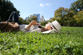 Woman relaxing in Central Park — Stock Photo