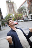 Man expressing happiness and screaming — Stock Photo