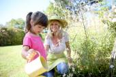 Woman with girl watering plants — Stock Photo