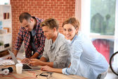 Roommates at home websurfing on net — Stock Photo