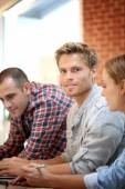 Students gathering with friends — Stock Photo