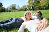 Couple relaxing in Central Park — Stock Photo