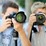 Men on photography training day — Stock Photo #58090433