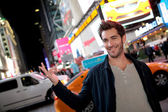 Man in Time Square on Broadway street — Stock Photo