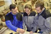 Students in woodwork training course — Stock Photo