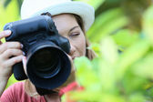 Photographer taking picture of nature — Stock Photo