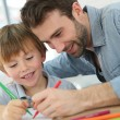 Daddy with boy making drawings — Stock Photo #67893905