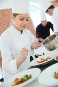 Woman in cooking class — Stock Photo