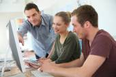 Students at digital design training course — Stock Photo