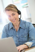 Woman teleworking from home — Stock Photo