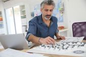 Mature architect in office — Stock Photo