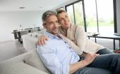 Couple relaxing at home — Stock Photo
