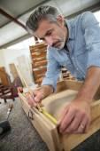 Carpenter measuring drawer — Stock Photo