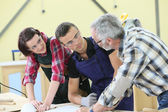 Young people in carpentry course — Stock Photo