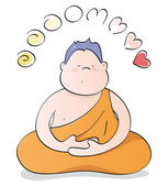 Happy Buddha meditating — Stock Vector