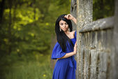 Portrait Of Sensual Fashion Woman In Blue Dress Outdoor — Stock Photo