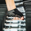 A rack with metal dumbbells in gym. — Stock Photo #53222585