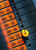 Closeup of weight stack with orange pin. — Stock Photo
