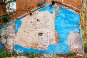 Demolished building - bricks and stucco texture.  — Stock Photo
