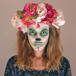 Portrait of woman with scary halloween makeup. — Stock Photo #60302011