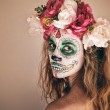 Portrait of woman with scary halloween makeup. — Stock Photo #60302015