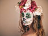 Portrait of woman with scary halloween makeup. — Φωτογραφία Αρχείου