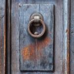 Dark wooden door panel with door knocker. — Stock Photo #65237127