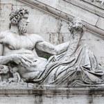 Detail of facade of Palazzo Senatorio on the Capitol hill, Rome, — Stock Photo #65237463