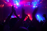 Cheering crowd having fun at a concert. — Stock Photo
